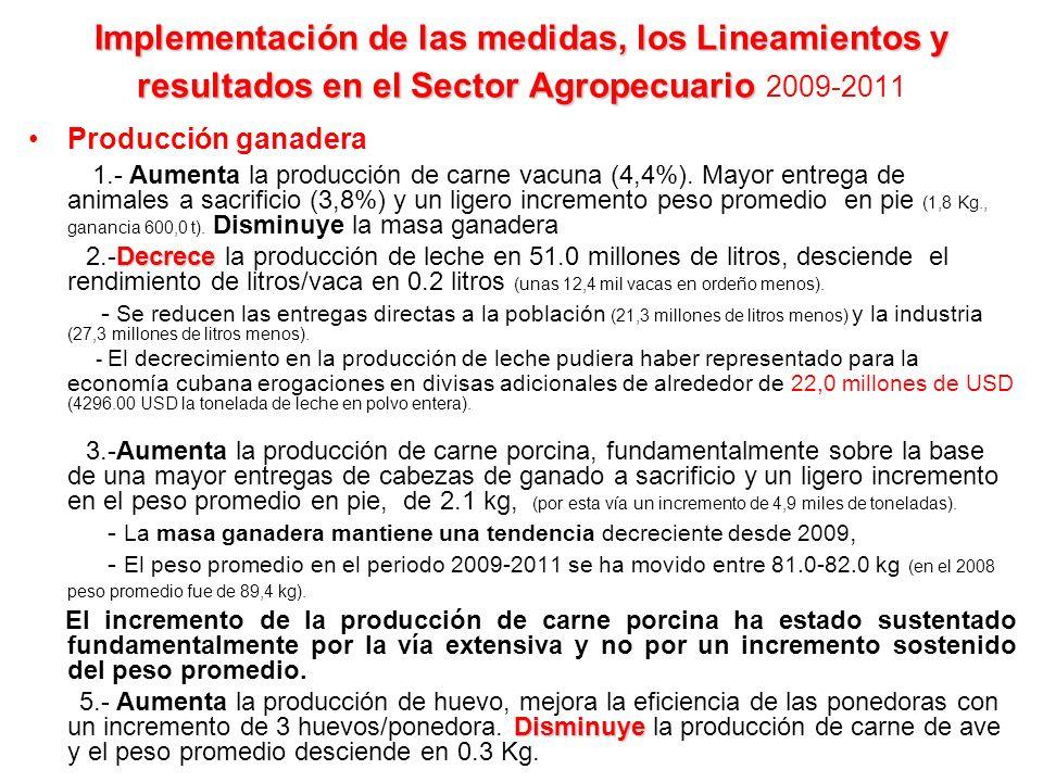 Implementación de las medidas, los Lineamientos y resultados en el Sector Agropecuario Implementación de las medidas, los Lineamientos y resultados en el Sector Agropecuario 2009-2011 Producción ganadera 1.- Aumenta la producción de carne vacuna (4,4%).