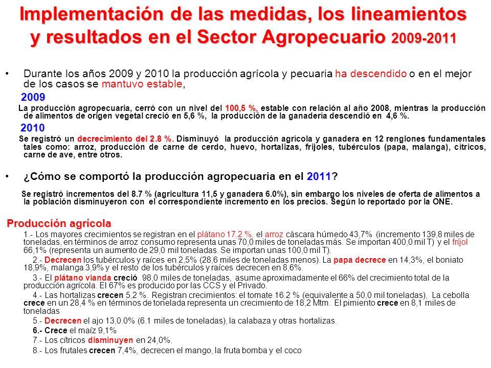 Implementación de las medidas, los lineamientos y resultados en el Sector Agropecuario 2009-2011 Durante los años 2009 y 2010 la producción agrícola y pecuaria ha descendido o en el mejor de los casos se mantuvo estable, 2009 100,5 %, La producción agropecuaria, cerró con un nivel del 100,5 %, estable con relación al año 2008, mientras la producción de alimentos de origen vegetal creció en 5,6 %, la producción de la ganadería descendió en 4,6 %.