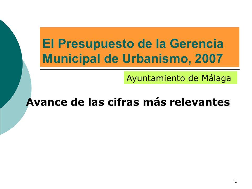 1 El Presupuesto de la Gerencia Municipal de Urbanismo, 2007 Avance de las cifras más relevantes Ayuntamiento de Málaga