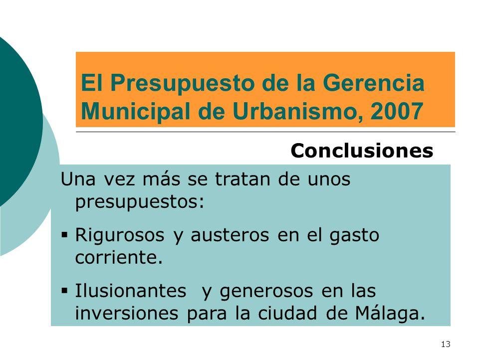 13 El Presupuesto de la Gerencia Municipal de Urbanismo, 2007 Conclusiones Una vez más se tratan de unos presupuestos: Rigurosos y austeros en el gasto corriente.