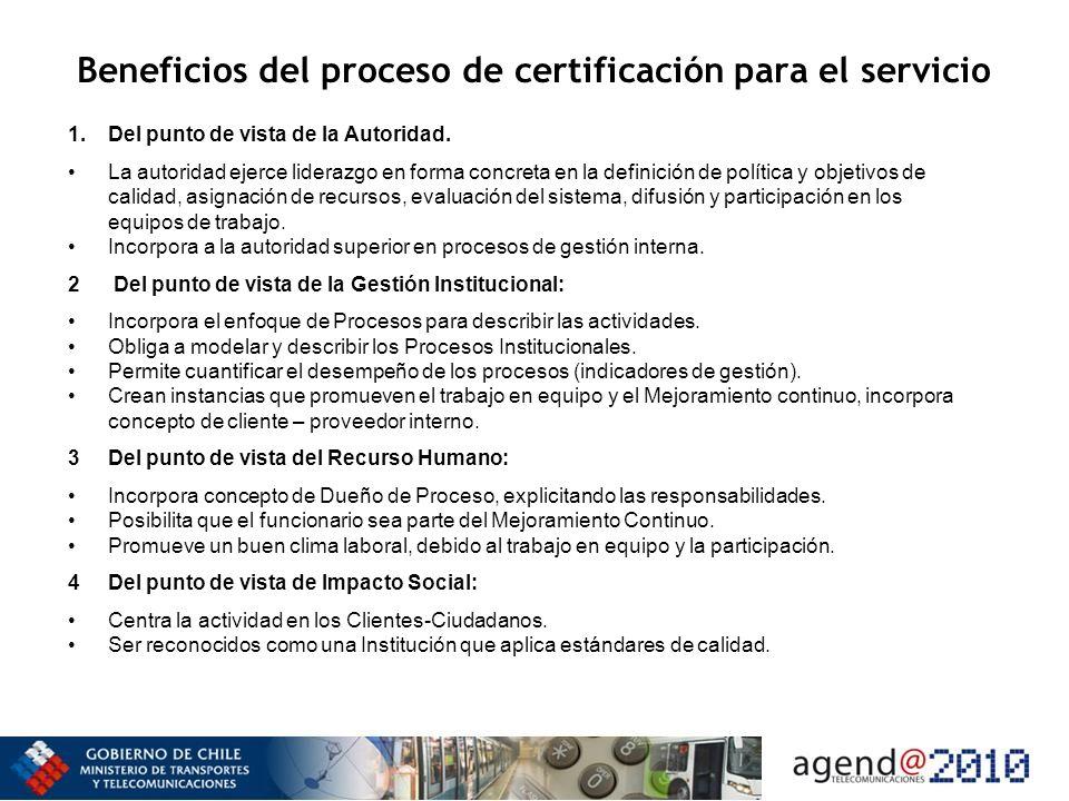 Beneficios del proceso de certificación para el servicio 1.Del punto de vista de la Autoridad. La autoridad ejerce liderazgo en forma concreta en la d