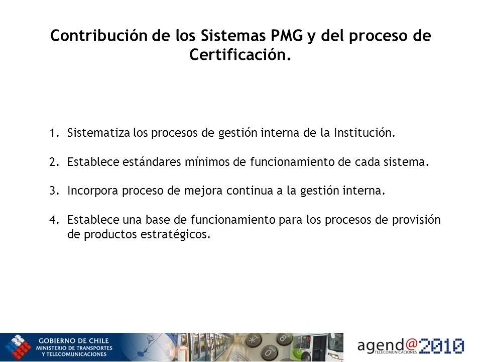 Contribución de los Sistemas PMG y del proceso de Certificación. 1.Sistematiza los procesos de gestión interna de la Institución. 2.Establece estándar