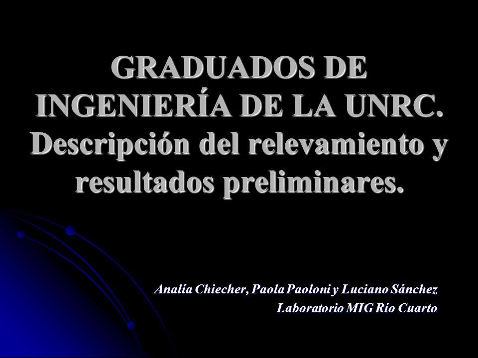 GRADUADOS DE INGENIERÍA DE LA UNRC.Descripción del relevamiento y resultados preliminares.