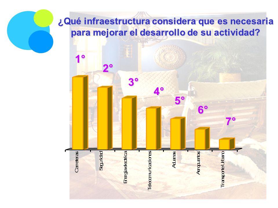 ¿Qué infraestructura considera que es necesaria para mejorar el desarrollo de su actividad? 1° 2° 3° 4° 6° 5° 7°