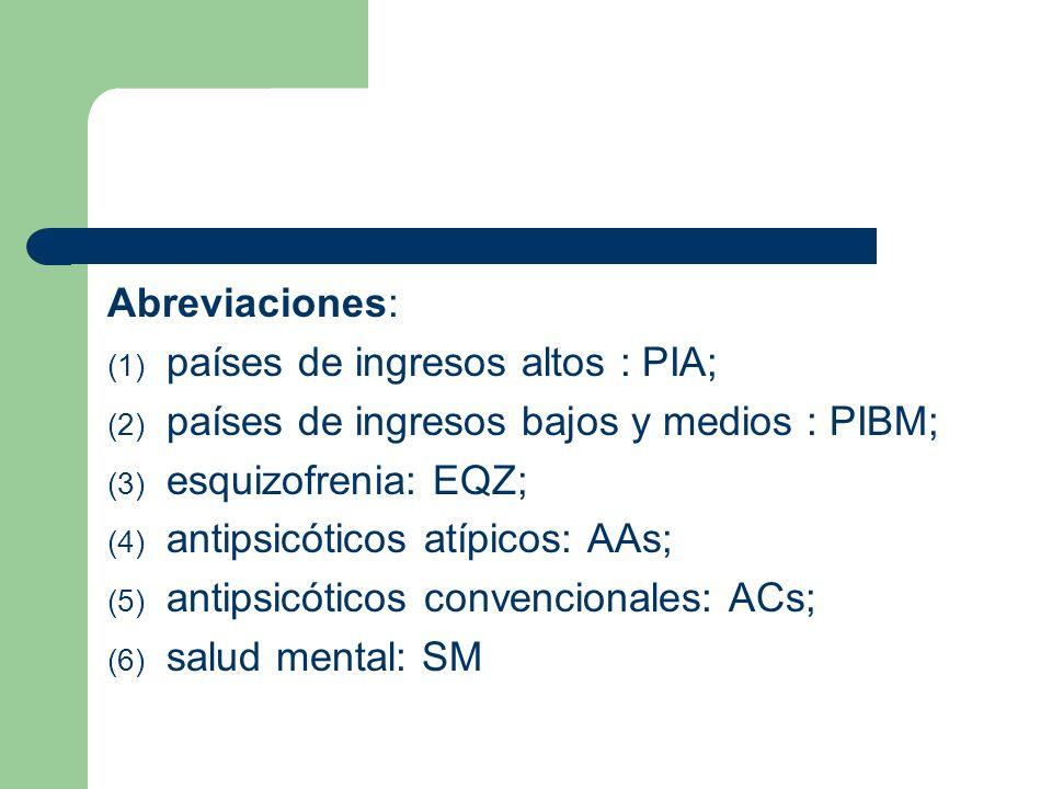 Abreviaciones: (1) países de ingresos altos : PIA; (2) países de ingresos bajos y medios : PIBM; (3) esquizofrenia: EQZ; (4) antipsicóticos atípicos: AAs; (5) antipsicóticos convencionales: ACs; (6) salud mental: SM