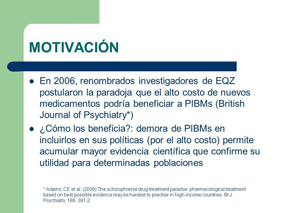 MOTIVACIÓN En 2006, renombrados investigadores de EQZ postularon la paradoja que el alto costo de nuevos medicamentos podría beneficiar a PIBMs (Briti
