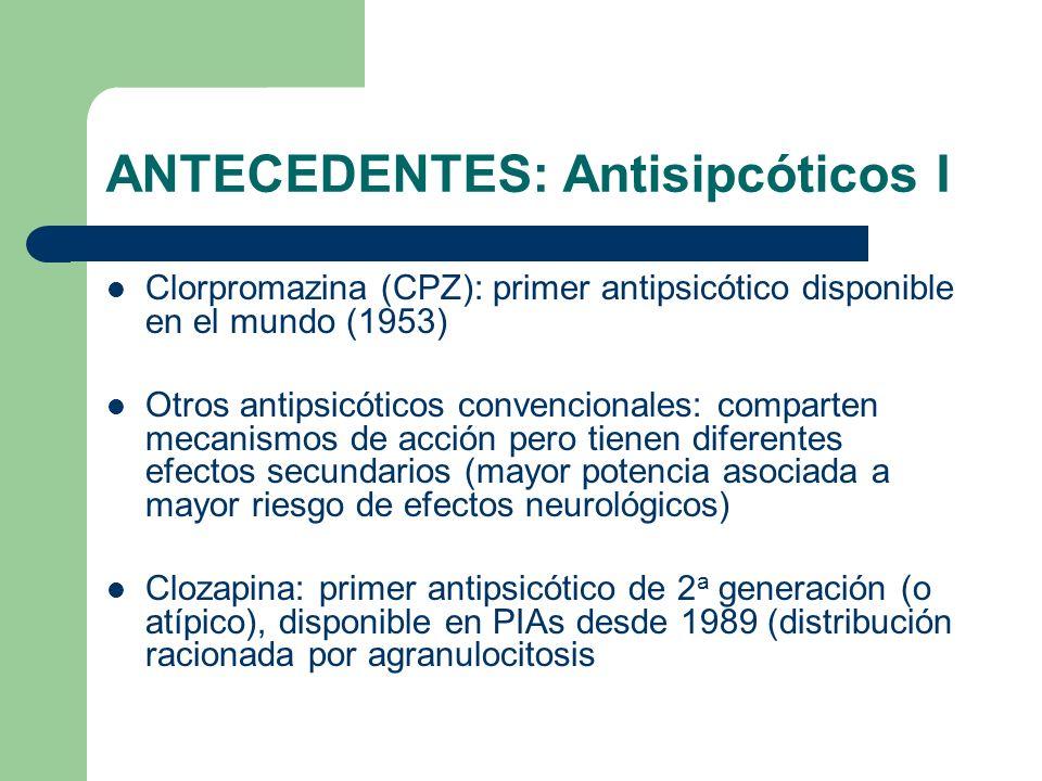 ANTECEDENTES: Antisipcóticos I Clorpromazina (CPZ): primer antipsicótico disponible en el mundo (1953) Otros antipsicóticos convencionales: comparten mecanismos de acción pero tienen diferentes efectos secundarios (mayor potencia asociada a mayor riesgo de efectos neurológicos) Clozapina: primer antipsicótico de 2 a generación (o atípico), disponible en PIAs desde 1989 (distribución racionada por agranulocitosis