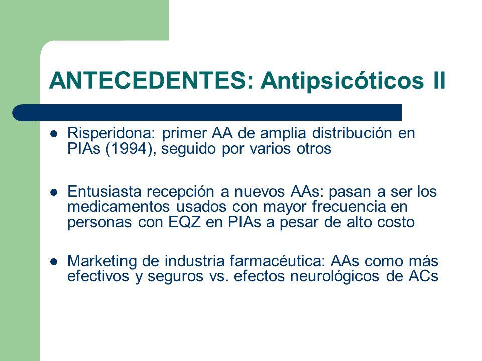 ANTECEDENTES: Antipsicóticos II Risperidona: primer AA de amplia distribución en PIAs (1994), seguido por varios otros Entusiasta recepción a nuevos AAs: pasan a ser los medicamentos usados con mayor frecuencia en personas con EQZ en PIAs a pesar de alto costo Marketing de industria farmacéutica: AAs como más efectivos y seguros vs.