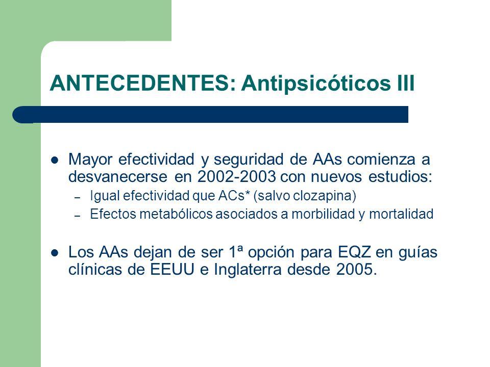 ANTECEDENTES: Antipsicóticos III Mayor efectividad y seguridad de AAs comienza a desvanecerse en 2002-2003 con nuevos estudios: – Igual efectividad que ACs* (salvo clozapina) – Efectos metabólicos asociados a morbilidad y mortalidad Los AAs dejan de ser 1ª opción para EQZ en guías clínicas de EEUU e Inglaterra desde 2005.