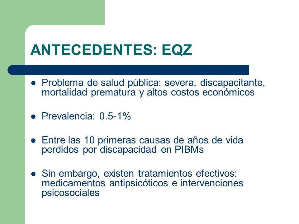 ANTECEDENTES: EQZ Problema de salud pública: severa, discapacitante, mortalidad prematura y altos costos económicos Prevalencia: 0.5-1% Entre las 10 p