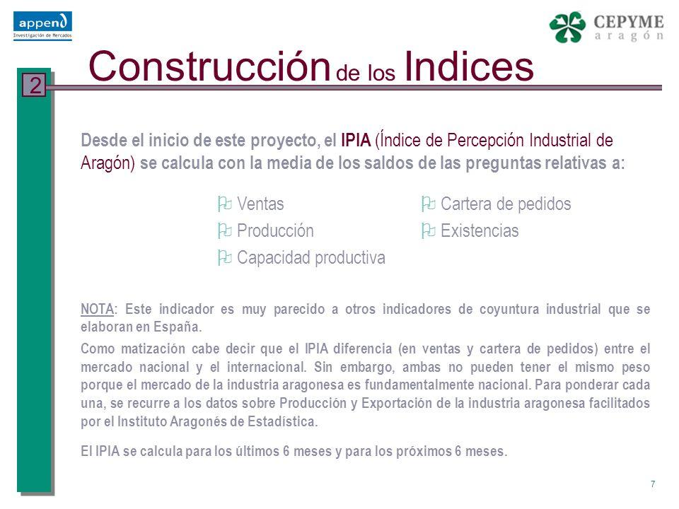 8 Revisión metodológica 1 Desde el año 2004 el cálculo del IPIA se ha modificado respecto a anteriores semestres, siendo recalculados todos los índices en base a una nueva formulación.