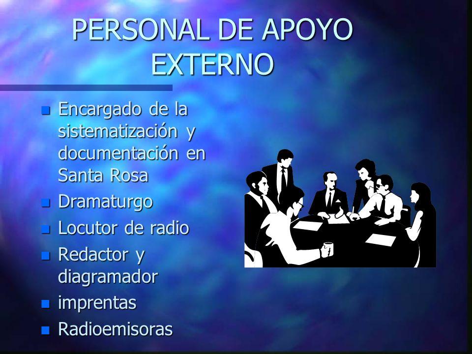 PERSONAL DE APOYO EXTERNO n Encargado de la sistematización y documentación en Santa Rosa n Dramaturgo n Locutor de radio n Redactor y diagramador n i