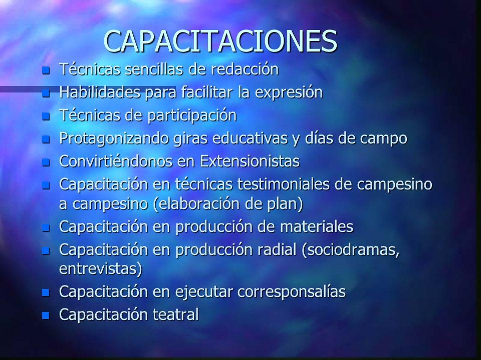 CAPACITACIONES n Técnicas sencillas de redacción n Habilidades para facilitar la expresión n Técnicas de participación n Protagonizando giras educativ