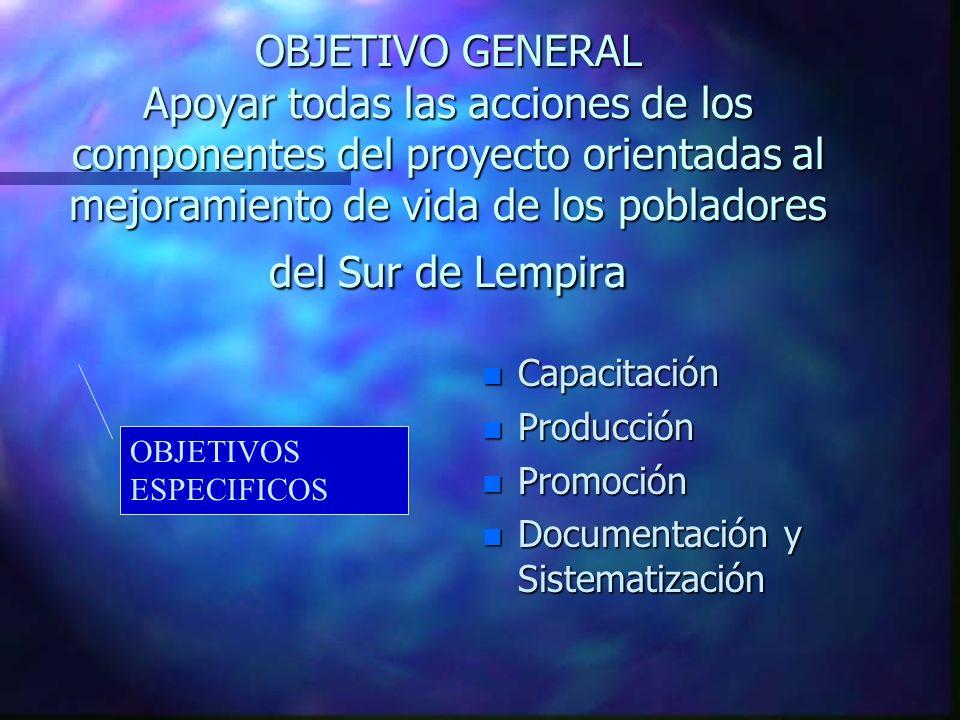 OBJETIVO GENERAL Apoyar todas las acciones de los componentes del proyecto orientadas al mejoramiento de vida de los pobladores del Sur de Lempira n C