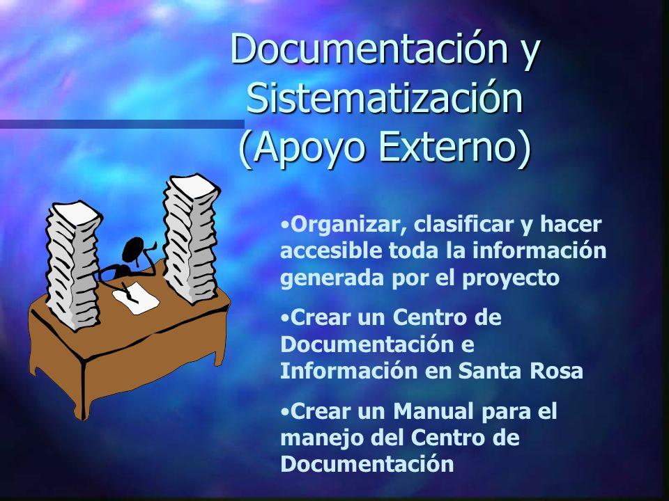 Documentación y Sistematización (Apoyo Externo) Organizar, clasificar y hacer accesible toda la información generada por el proyecto Crear un Centro d