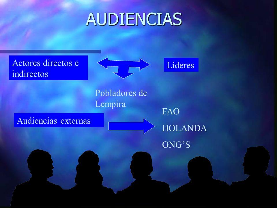 AUDIENCIAS Actores directos e indirectos Líderes Pobladores de Lempira Audiencias externas FAO HOLANDA ONGS