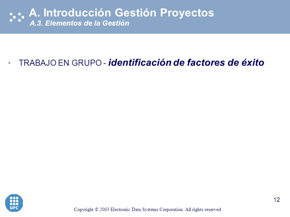 Copyright © 2003 Electronic Data Systems Corporation. All rights reserved 11 A.3 Elementos de la Gestión A. Introducción Gestión Proyectos Comunica- c