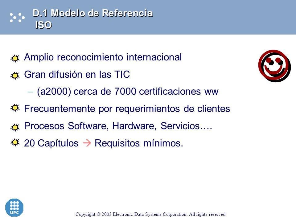 Copyright © 2003 Electronic Data Systems Corporation. All rights reserved Modelo general de aseguramiento de la calidad del diseño, desarrollo, produc