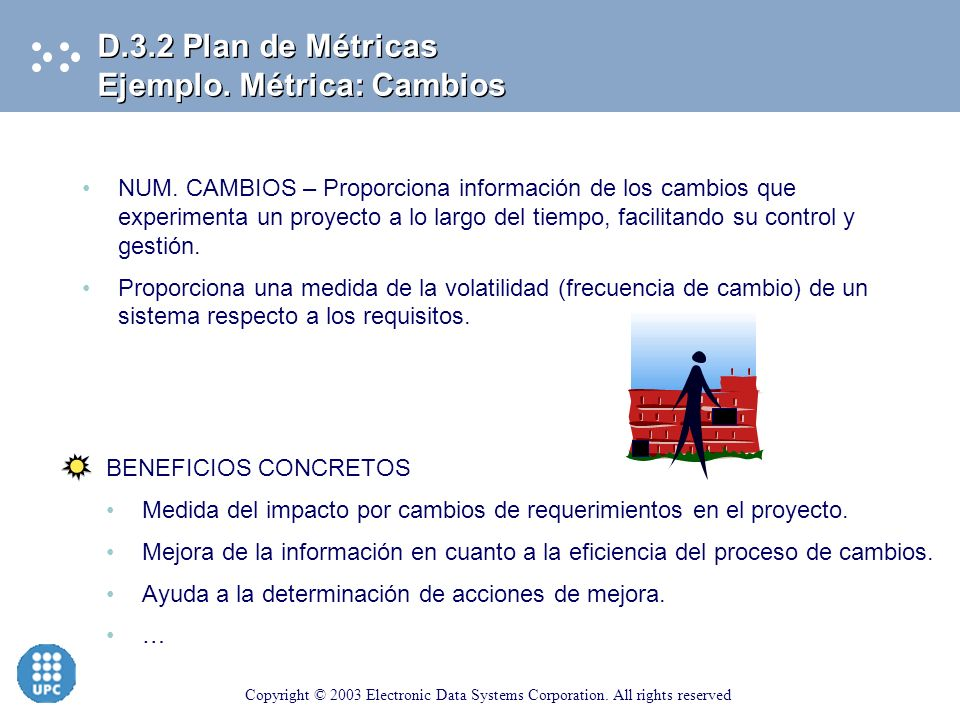 Copyright © 2003 Electronic Data Systems Corporation. All rights reserved NUM DEFECTOS – Proporciona información para la evaluación de la calidad y de