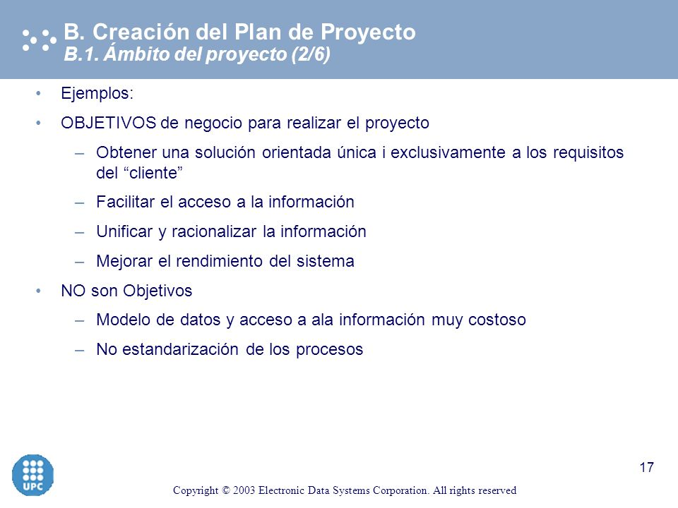 Copyright © 2003 Electronic Data Systems Corporation. All rights reserved 16 B.1. Definición del ámbito del Proyecto (1/6) B. Creación del Plan de Pro