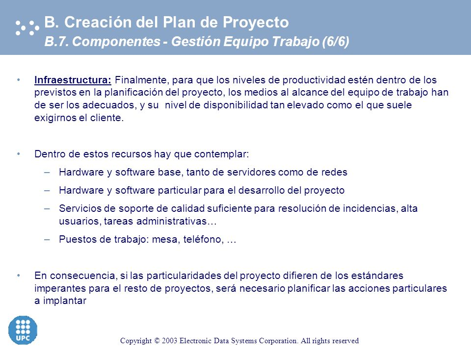 Copyright © 2003 Electronic Data Systems Corporation. All rights reserved B.7. Componentes - Gestión Equipo Trabajo (5/6) B. Creación del Plan de Proy