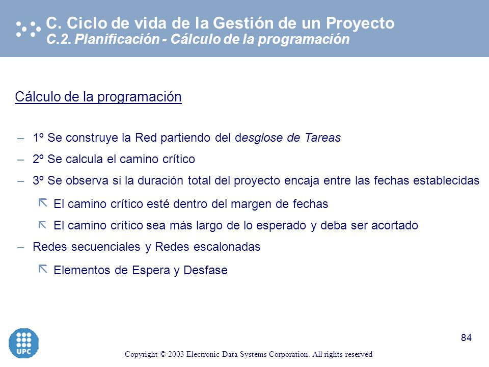 Copyright © 2003 Electronic Data Systems Corporation. All rights reserved 83 C.2. Planificación - Programación del proyecto C. Ciclo de vida de la Ges