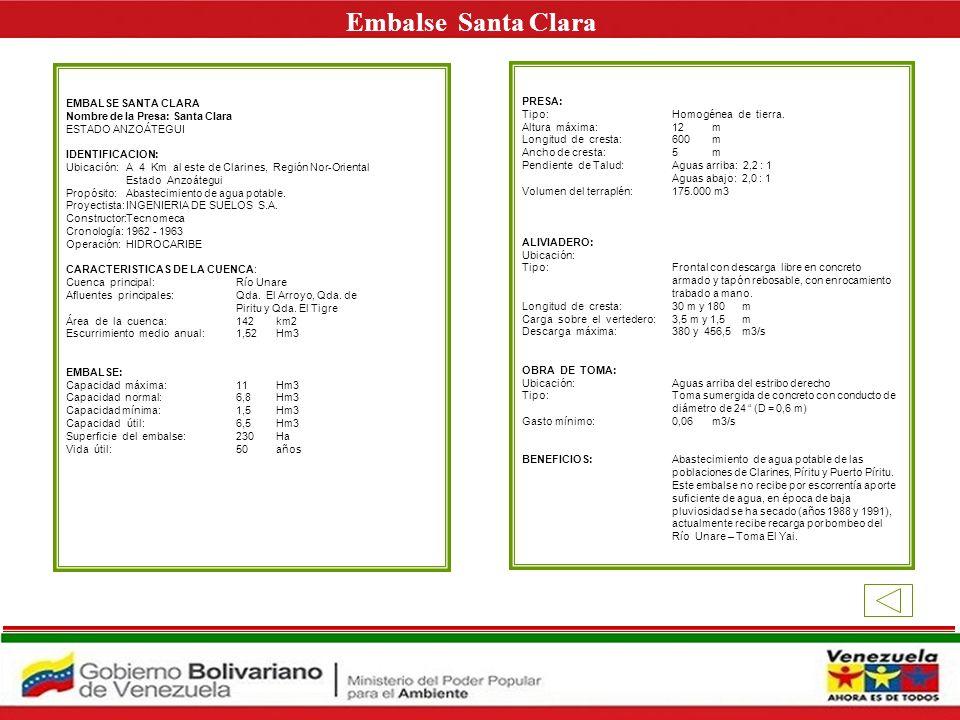 EMBALSE LA PEREZA Nombre de la Presa: La Pereza ESTADO MIRANDA IDENTIFICACION: Ubicación: Sobre la Quebrada La Pereza, a 18 Km de Petare, próxima a la carretera Petare-Santa Lucía, en Fila de Mariches Estado Miranda Propósito:Funcionar como embalse compensador de agua para la ciudad de Caracas Proyectista:OTEHA Y PIERETTI Constructor: ENECA, S.A Cronología:1966 - 1969 Operación: Hidrocapital CARACTERISTICAS DE LA CUENCA: Cuenca principal: Quebrada La Pereza.