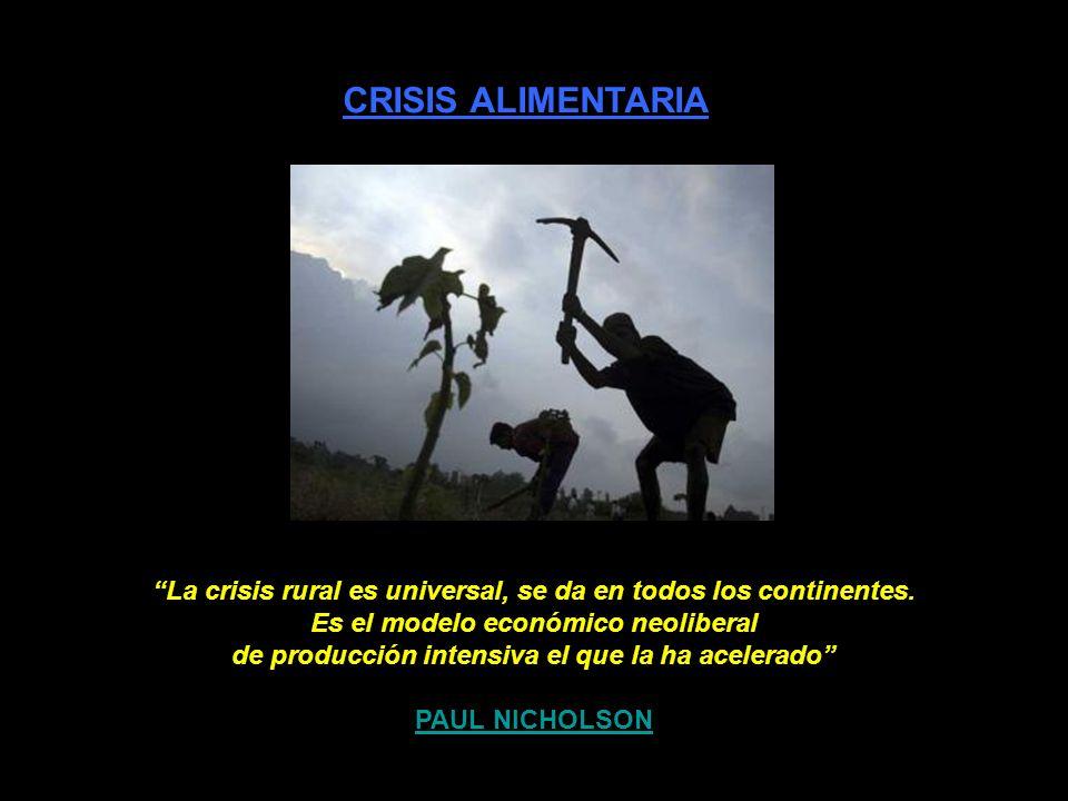 CRISIS ALIMENTARIA La crisis rural es universal, se da en todos los continentes.