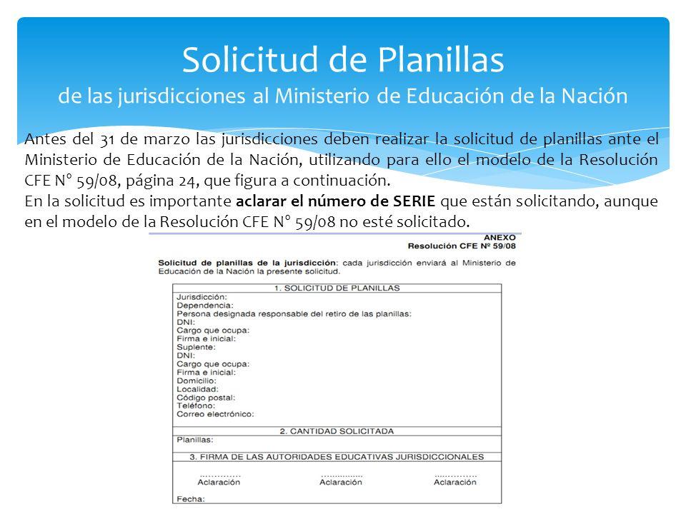 Solicitud de Planillas de las jurisdicciones al Ministerio de Educación de la Nación Antes del 31 de marzo las jurisdicciones deben realizar la solici