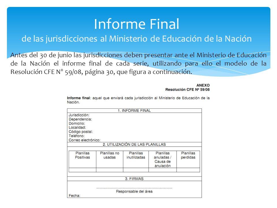 Informe Final de las jurisdicciones al Ministerio de Educación de la Nación Antes del 30 de junio las jurisdicciones deben presentar ante el Ministeri