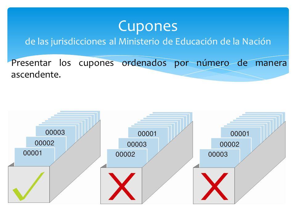 Presentar los cupones ordenados por número de manera ascendente. Cupones de las jurisdicciones al Ministerio de Educación de la Nación