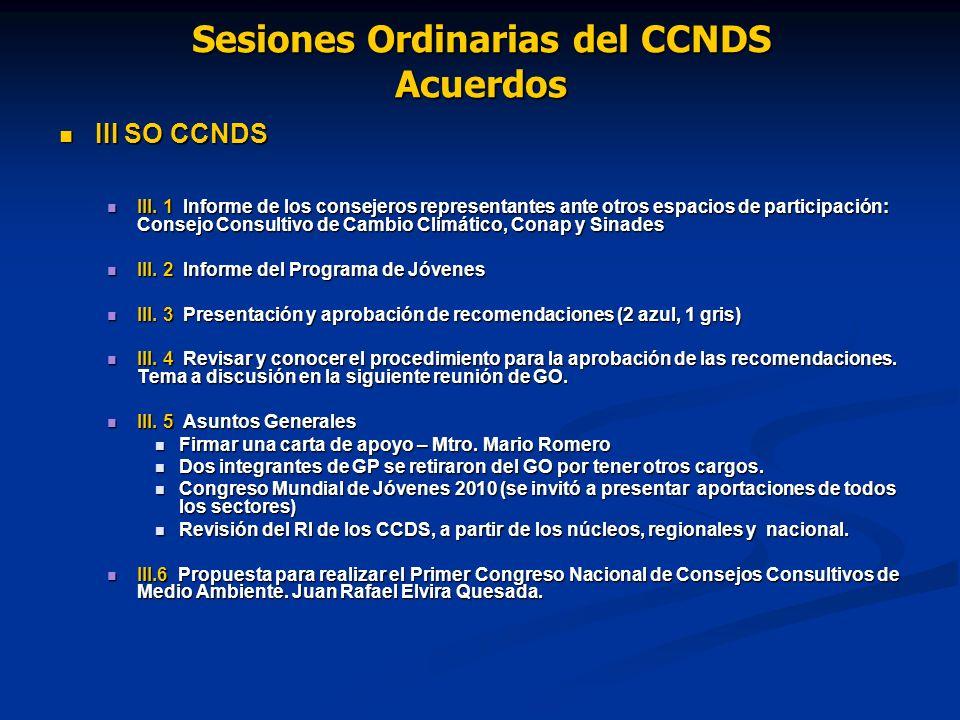 Sesiones Ordinarias del CCNDS Acuerdos III SO CCNDS III SO CCNDS III.