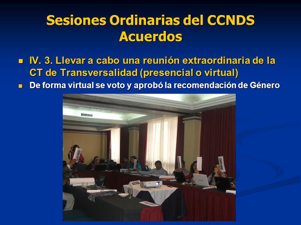 Sesiones Ordinarias del CCNDS Acuerdos IV. 3. Llevar a cabo una reunión extraordinaria de la CT de Transversalidad (presencial o virtual) IV. 3. Lleva