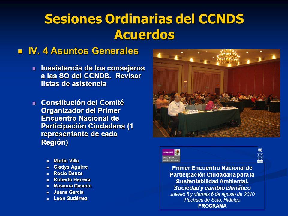 Sesiones Ordinarias del CCNDS Acuerdos IV. 4 Asuntos Generales IV.