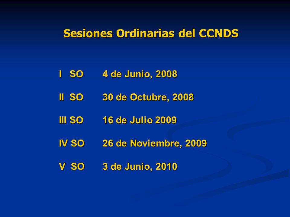 Sesiones Ordinarias del CCNDS I SO4 de Junio, 2008 II SO30 de Octubre, 2008 III SO16 de Julio 2009 IV SO26 de Noviembre, 2009 V SO3 de Junio, 2010