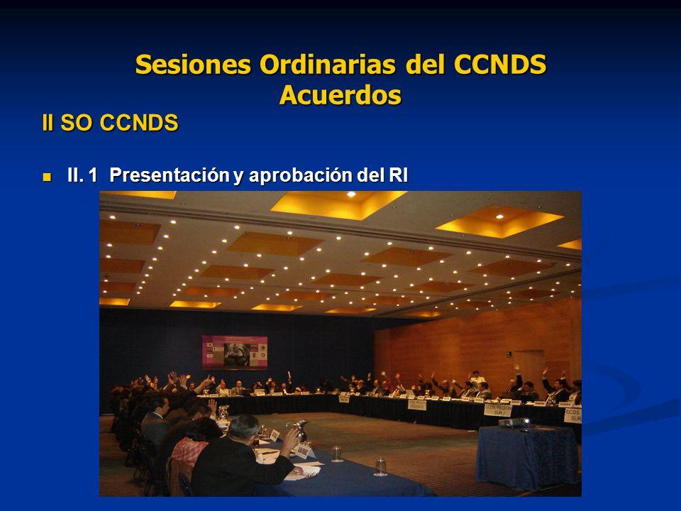 Sesiones Ordinarias del CCNDS Acuerdos II SO CCNDS II.