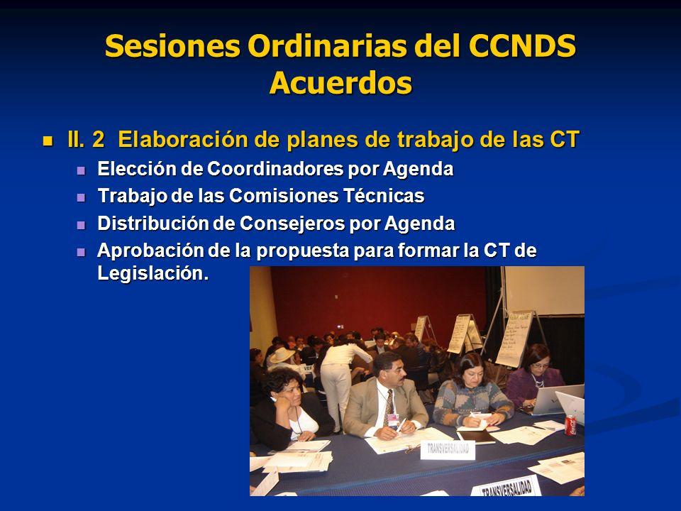 Sesiones Ordinarias del CCNDS Acuerdos II. 2 Elaboración de planes de trabajo de las CT II.
