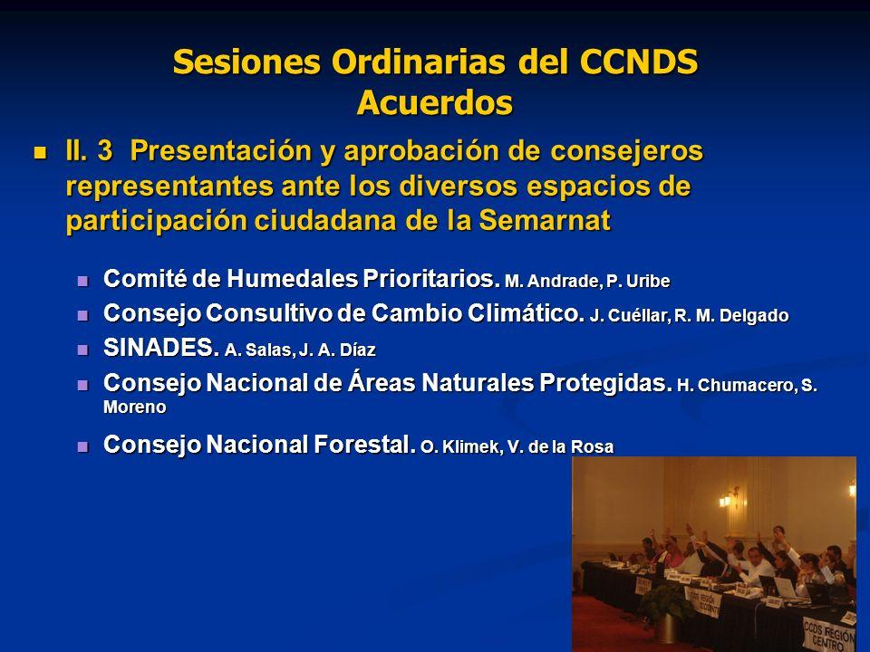 Sesiones Ordinarias del CCNDS Acuerdos II.