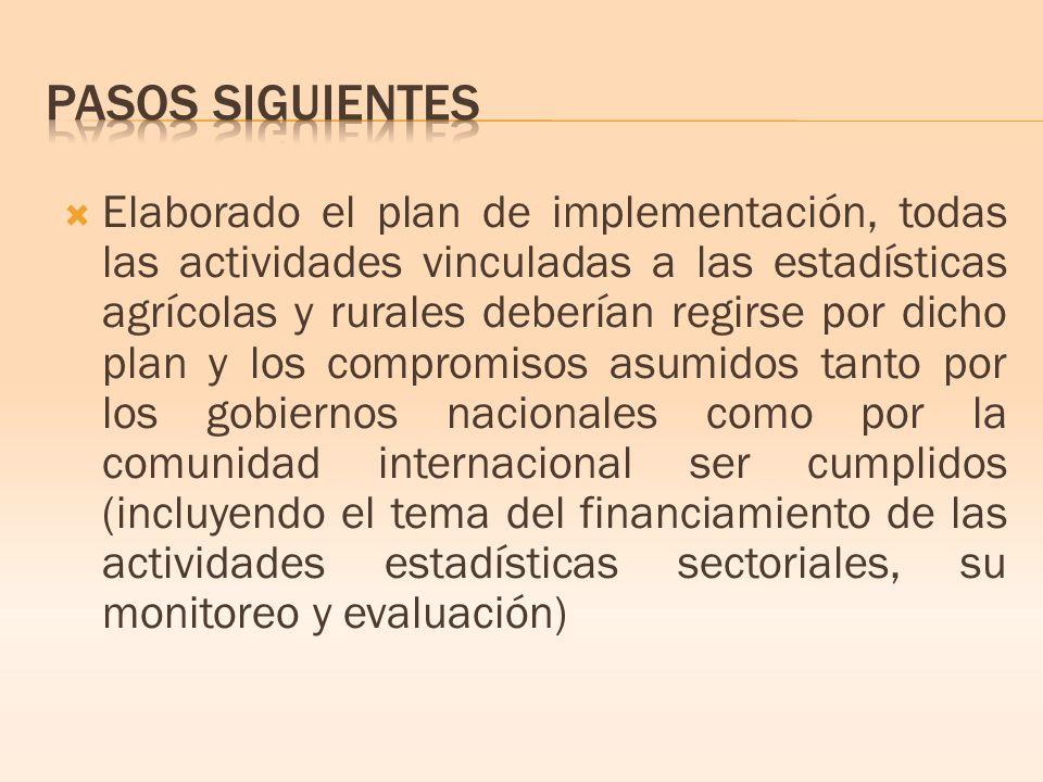 Elaborado el plan de implementación, todas las actividades vinculadas a las estadísticas agrícolas y rurales deberían regirse por dicho plan y los compromisos asumidos tanto por los gobiernos nacionales como por la comunidad internacional ser cumplidos (incluyendo el tema del financiamiento de las actividades estadísticas sectoriales, su monitoreo y evaluación)