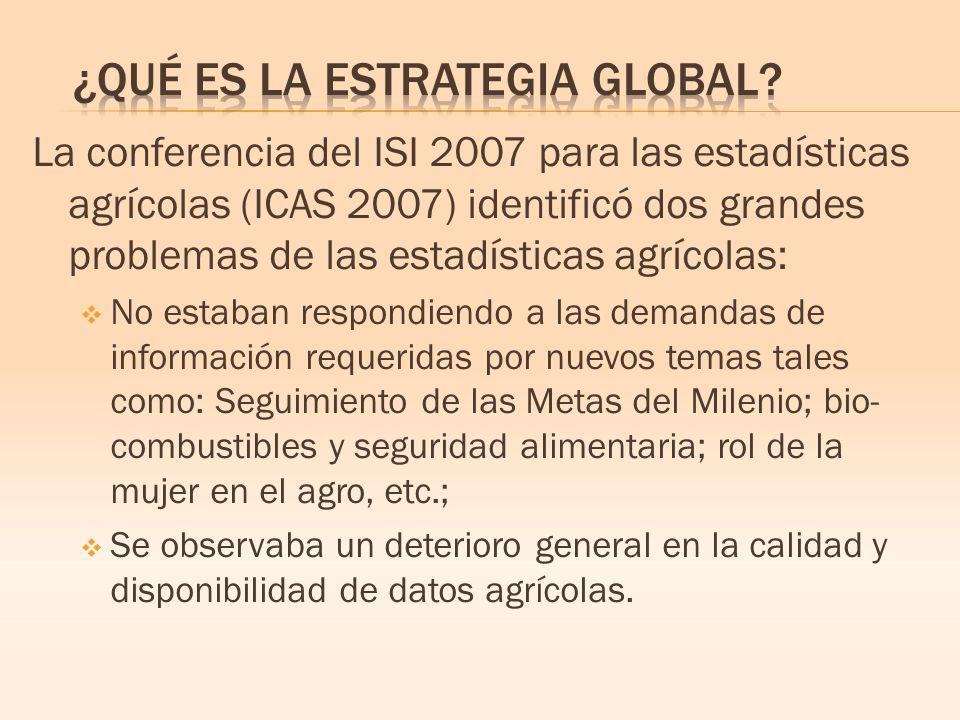 La conferencia del ISI 2007 para las estadísticas agrícolas (ICAS 2007) identificó dos grandes problemas de las estadísticas agrícolas: No estaban respondiendo a las demandas de información requeridas por nuevos temas tales como: Seguimiento de las Metas del Milenio; bio- combustibles y seguridad alimentaria; rol de la mujer en el agro, etc.; Se observaba un deterioro general en la calidad y disponibilidad de datos agrícolas.