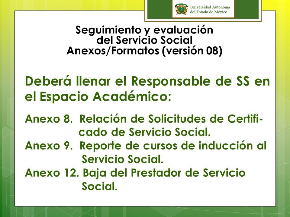 Seguimiento y evaluación del Servicio Social Anexos/Formatos (versión 08) Deberá llenar el Prestador de Servicio Social: Anexo 1.