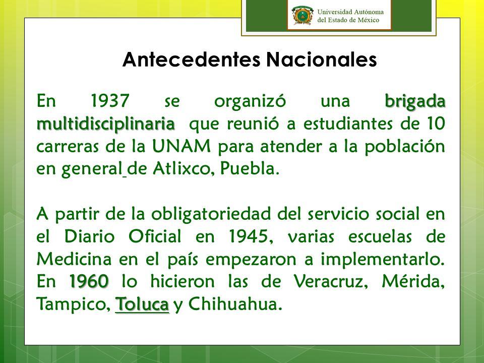 Antecedentes Nacionales Movimiento Universitario El Movimiento Universitario de 1927 concebía al servicio social, como una forma justa, acertada y útil de que la cultura no se aísle de los problemas de la realidad.