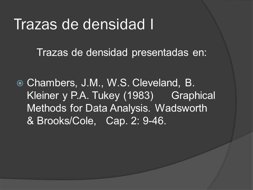 Trazas de densidad I Trazas de densidad presentadas en: Chambers, J.M., W.S. Cleveland, B. Kleiner y P.A. Tukey (1983) Graphical Methods for Data Anal