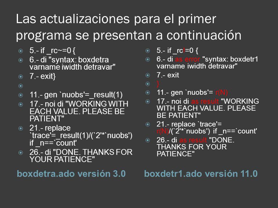 Las actualizaciones para el primer programa se presentan a continuación boxdetra.ado versión 3.0boxdetr1.ado versión 11.0 5.- if _rc~=0 { 6.- di