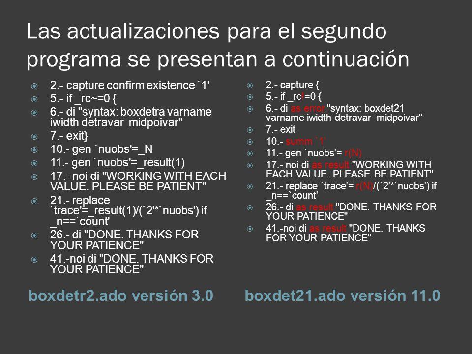 Las actualizaciones para el segundo programa se presentan a continuación boxdetr2.ado versión 3.0boxdet21.ado versión 11.0 2.- capture confirm existen