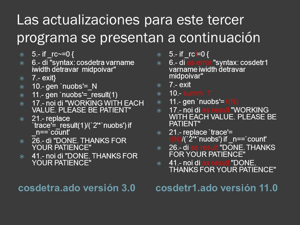 Las actualizaciones para este tercer programa se presentan a continuación cosdetra.ado versión 3.0cosdetr1.ado versión 11.0 5.- if _rc~=0 { 6.- di syntax: cosdetra varname iwidth detravar midpoivar 7.- exit} 10.- gen `nuobs =_N 11.- gen `nuobs =_result(1) 17.- noi di WORKING WITH EACH VALUE.