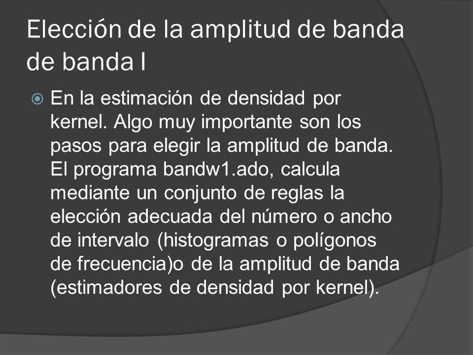 Elección de la amplitud de banda de banda I En la estimación de densidad por kernel. Algo muy importante son los pasos para elegir la amplitud de band