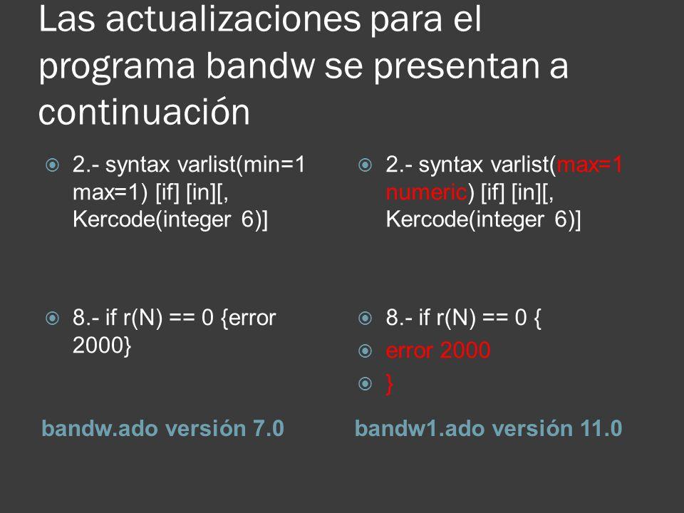 Las actualizaciones para el programa bandw se presentan a continuación bandw.ado versión 7.0bandw1.ado versión 11.0 2.- syntax varlist(min=1 max=1) [i