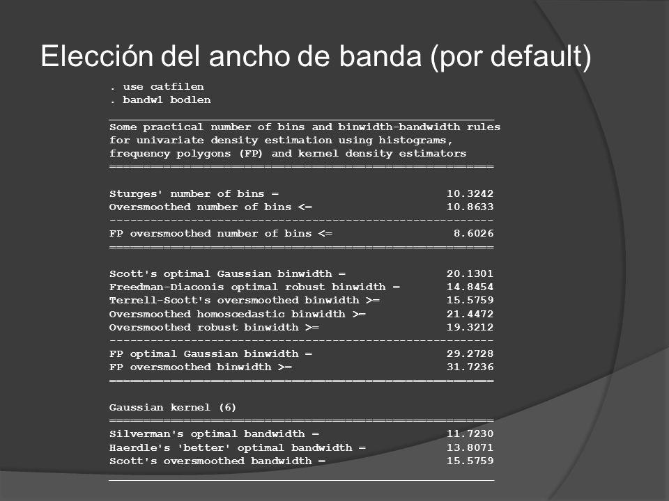 Elección del ancho de banda (por default). use catfilen. bandw1 bodlen _________________________________________________________ Some practical number