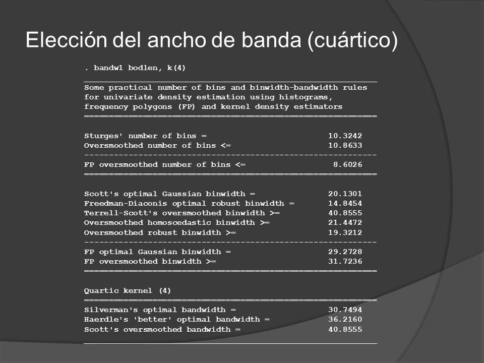 Elección del ancho de banda (cuártico). bandw1 bodlen, k(4) ____________________________________________________________ Some practical number of bins